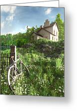 House On The Hill Greeting Card by Cynthia Decker