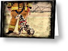 Hurricane Sandy Fireman and Dog Greeting Card by Jessica Cirz
