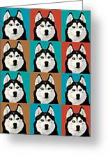 Husky Pop Art Greeting Card by Susan Stone