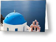 Iconic blue domed churches in Oia Santorini Greece Greeting Card by Matteo Colombo