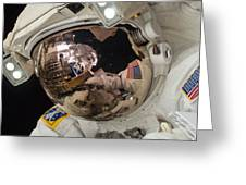Iss Expedition 38 Spacewalk Greeting Card by Science Source