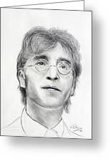 John Lennon Beatles Greeting Card by Ruth Jamieson