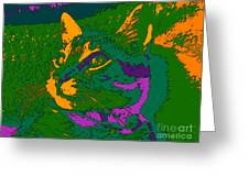 Jungle Cat Greeting Card by Hanza Turgul