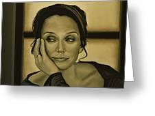Kristin Scott Thomas Greeting Card by Paul Meijering