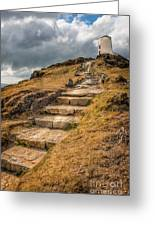 Lighthouse Steps Greeting Card by Adrian Evans