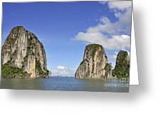 Limestone Karst Peaks Islands In Ha Long Bay Greeting Card by Sami Sarkis