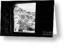 Looking Out Through Window From Interior Of Historic Stone Cabin Built By The Civilian Conservation  Greeting Card by Joe Fox