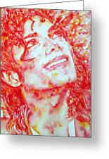 Michael Jackson - Watercolor Portrait.2 Greeting Card by Fabrizio Cassetta