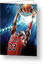 Michael Jordan Artwork Greeting Card by Sheraz A