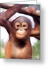 Monkey Business Greeting Card by Karen Larter