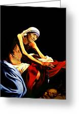 Mother Teresa Seated Nude Greeting Card by Karine Percheron-Daniels