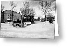 municipal city mini tractor clearing sidewalks and roads in Saskatoon Saskatchewan Canada Greeting Card by Joe Fox