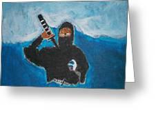 Ninja Acrylic Painting Greeting Card by William Sahir House