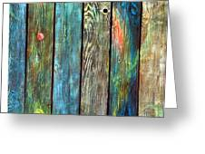 Old Barnyard Gate With Colors Brightened Greeting Card by Asha Carolyn Young