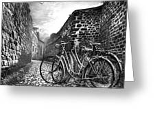 Old Bicycles On A Sunday Morning Greeting Card by Debra and Dave Vanderlaan
