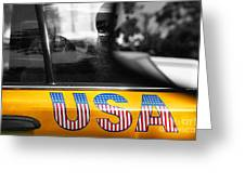 Patriotic Usa Taxi Greeting Card by Anahi DeCanio