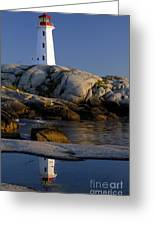 Peggy's Cove Lighthouse Greeting Card by Norman Pogson