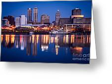 Peoria Illinois Skyline At Night Greeting Card by Paul Velgos
