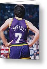 Pistol Pete Maravich Greeting Card by Paint Splat