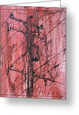 Pole With Transformer Greeting Card by William Cauthern