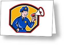 Policeman Shouting Bullhorn Shield Cartoon Greeting Card by Aloysius Patrimonio