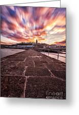 Porthleven Pier Greeting Card by John Farnan