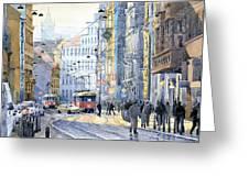 Prague Vodickova Str  Greeting Card by Yuriy  Shevchuk