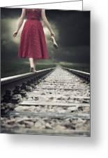 Railway Tracks Greeting Card by Joana Kruse