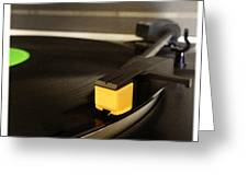 Record Player Greeting Card by Les Cunliffe