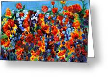 Red And Blue Greeting Card by Regina Valluzzi