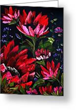 Red Flowers Greeting Card by Shirwan Ahmed