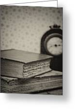 Retro Setting And Effect Of Antique Vintage Books Greeting Card by Matthew Gibson