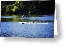 Rowing In Philadelphia Greeting Card by Bill Cannon