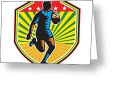 Rugby Player Running Ball Shield Retro Greeting Card by Aloysius Patrimonio