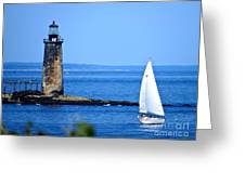 Sailing By Ram Island Light Greeting Card by Nancy Patterson