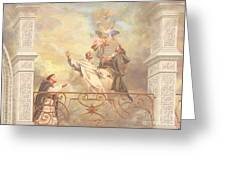 Saints Dominic Benedict And Francis Of Assisi 2 Greeting Card by John Alan  Warford