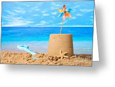 Sandcastle On Beach Greeting Card by Amanda And Christopher Elwell