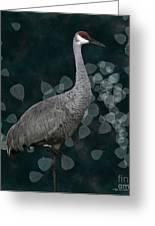 Sandhill Crane On Leaves Greeting Card by Megan Dirsa-DuBois
