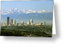 Seattle Skyline Greeting Card by King Wu