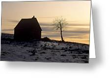 Silhouette Of A Farm And A Tree. Cezallier. Auvergne. France Greeting Card by Bernard Jaubert