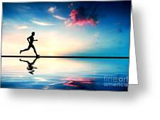 Silhouette of man running at sunset Greeting Card by Michal Bednarek