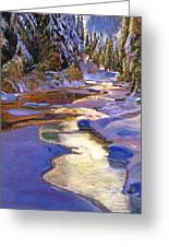 Snowy Creek Greeting Card by David Lloyd Glover