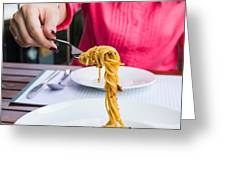 Spaghetti noodles Greeting Card by Tosporn Preede