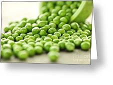 Spilled Bowl Of Green Peas Greeting Card by Elena Elisseeva