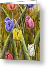 Splashy Tulips Greeting Card by Vic  Mastis