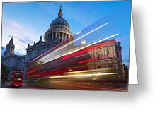 St. Pauls Cathedral And Light Trails Greeting Card by Mark Thomas