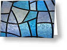 Stained glass background with ice flowers Greeting Card by Kiril Stanchev