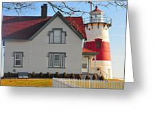 Startford Point Light Greeting Card by Catherine Reusch  Daley