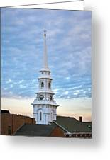 Steeple And Rooftops Greeting Card by Eric Gendron