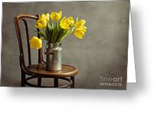 Still Life With Yellow Tulips Greeting Card by Nailia Schwarz